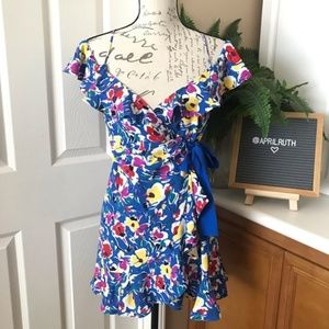 Topshop - Floral Ruffle Wrap Dress